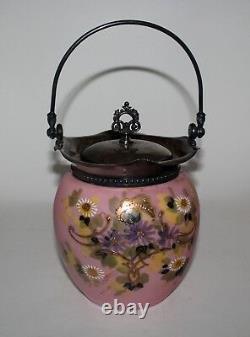 Victorian MT WASHINGTON Pink Satin Glass Hand Painted BISCUIT BARREL JAR