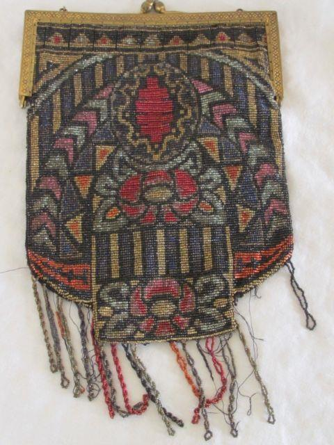 Victorian Micro Bead Stained Glass Art Deco Clutch Evening Bag Purse Antique