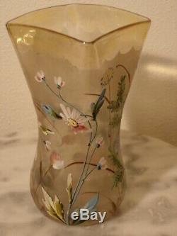 Victorian Midwest Pomona Floral Enameled Art Glass Celery Vase
