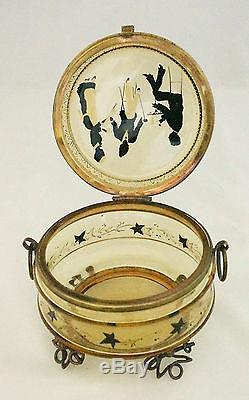 Victorian Moser Gold Enamel Hand Paint Silhouette Hinged Wire Vanity Dresser Box