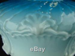 Victorian Moulded Graduated Blue Glass Oil Lamp Font, Art Nouveau Decoration