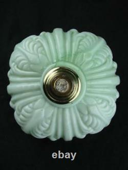 Victorian Moulded Graduated Green Glass Oil Lamp Font, Art Nouveau Decoration