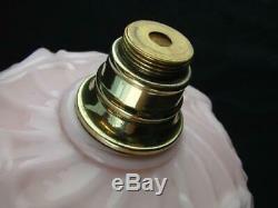 Victorian Moulded Graduated Peach Glass Oil Lamp Font, Art Nouveau Decoration