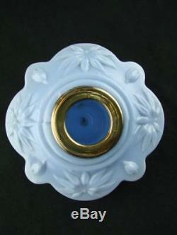 Victorian Moulded Lobed Blue Glass Oil Lamp Font, Art Nouveau Parrot Decoration