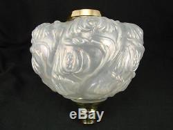 Victorian Moulded Wrythen Opalescent Glass Oil Lamp Font Art Nouveau Decoration