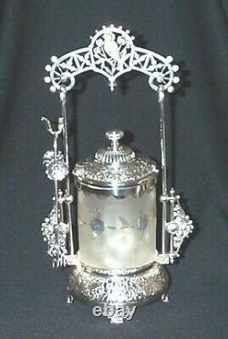 Victorian Mt. Washington Very Rare Pomona Glass Pickle Castor Xlnt Condition