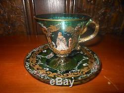 Victorian Murano Hand Painted Venetian Art Glass Cup & Saucer