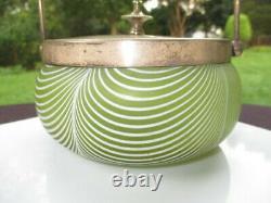 Victorian Nailsea Enamel Pulled Feather Vaseline Glass Preserve Jam Jar Sp LID