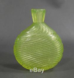 Victorian Nailsea Uranium Vaseline Art Swirl Glass Perfume Bottle Drink Flask