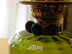 Victorian Oil Lamp, Young's Duplex Burner, Art Glass Shade, Brass