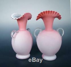 Victorian PR Pink Satin Art Glass 1890s Japonisme Butterfly Enamel Webb Harrach