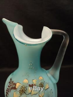 Victorian Pale Blue Satin Glass Ewer, Enameled Design
