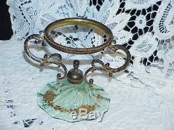 Victorian Peach blow Satin Green Glass Compote Center piece Brass holder Gilded