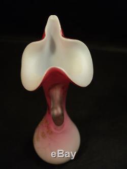 Victorian Peachblow Satin Glass Ewer, Thorn Handle