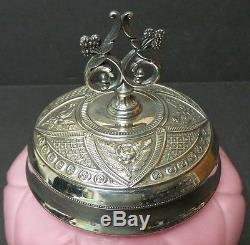 Victorian Period Consolidated Glass Pickle Jar, Derby Silver Plate Stand & LID