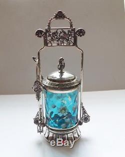 Victorian Pickle Castor, Aqua Enameled Glass Jar, c. 1890