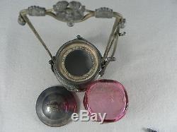 Victorian Pickle Castor Cranberry Art Glass Quadruple Silver Plate Middletown Co