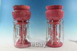 Victorian Pink Cased Enameled Mantle Lusters 14-1/2 Tall Beautiful Long Prisms