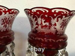 Victorian Pr Antique Bohemian Ruby Red Cut to Clear Art Glass Lusters with Prisms