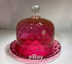 Victorian Rare Cranberry Hand Blown Dimple Indent Large Covered Cheese Dish
