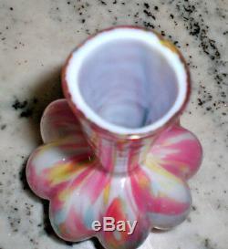 Victorian SPLATTER RAINBOW CASED GLASS VASE / Czechoslovakia / 6.5