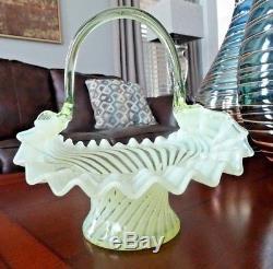 Victorian STEVENS & WILLIAMS WEBB Glass Vaseline SPIRAL Optic Opalescent BASKET