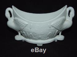 Victorian Sowerby White Glass Swan & Bullrush Posy Vase