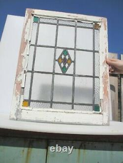 Victorian Stained Glass Window Panel Antique Vintage Old Art Deco Wooden 26x20