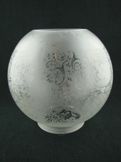 Victorian Style Globe Oil Lamp Shade Satin Etched Glass, Art Nouveau Design