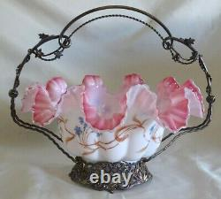 Victorian Superior Silver Co. Peach Blow Bride's Basket Hand Painted Blue Floral