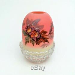Victorian Thomas Webb Burmese Fairy Lamp Hawthorne Prunus Hand Painted