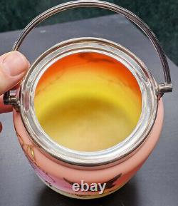 Victorian Thomas Webb & Sons Queens Burmese Ware Sunset Glass Biscuit Barrel
