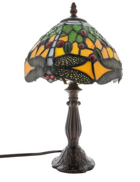 Victorian Trading Co Dragonfly Stained Glass Art Deco Table Lamp