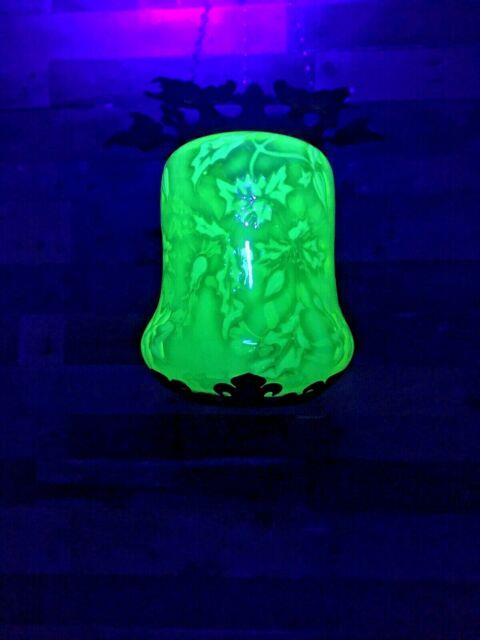 Victorian Vaseline Uranium Glass & Iron Leaf Ceiling Light Shade Arts & Crafts