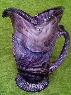 Victorian W H Heppell & Co Purple Slag Glass Fish Jug c 1882 rare Davidson