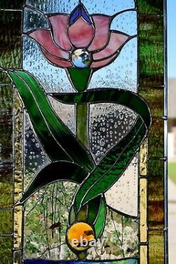 Victorian Water Lily Stained Glass Window (25 x 12)