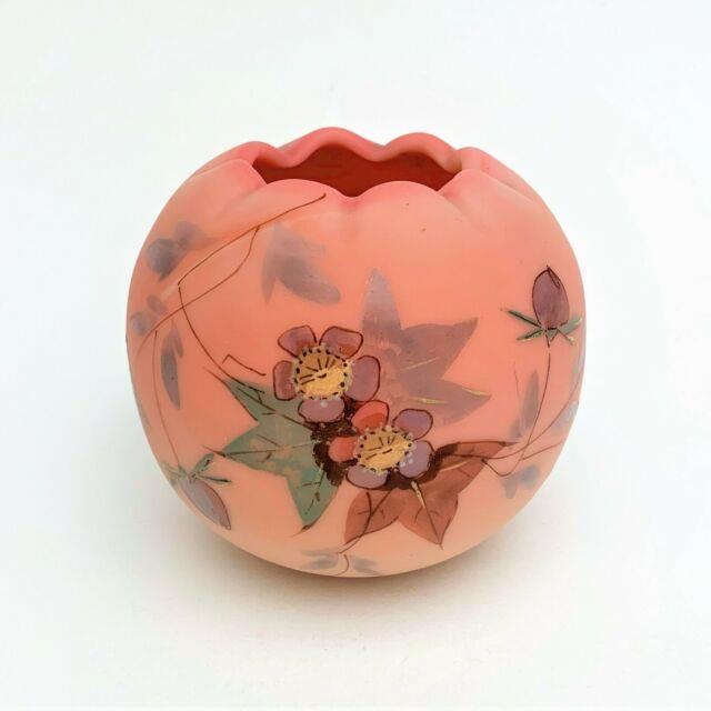 Victorian Webb Burmese Miniature Rose Bowl W Hand Painted Prunus Design