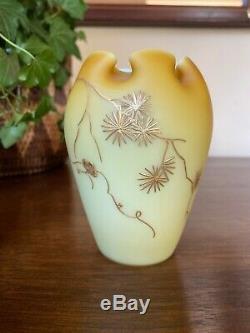 Victorian Webb Harrach Butterscotch Enamel Case Glass Vase Crimped Open 4 Tall