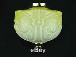 Victorian, Yellow, Art Nouveau Thistle Design Deeply Moulded Glass Oil Lamp Font
