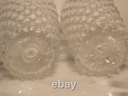 Victorian era European Hand Blown Art Glass Clear Crystal Hobnail Tumblers