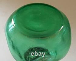 Victorian green glass vintage Art Nouveau antique metal rim vase
