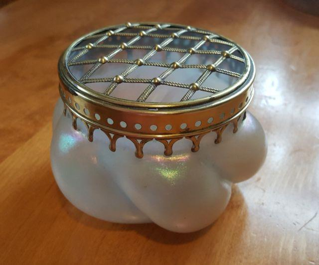 Victorian Puffy Glass Vase With Flower Frog Kralik Or Loetz Iridescent
