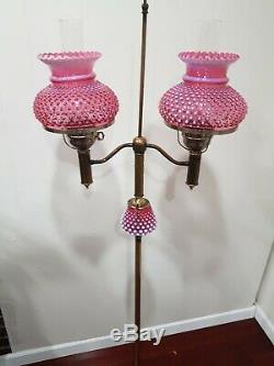 Vintage 1950s Fenton Double Student Floor Lamp Cranberry Hobnail Opalescent