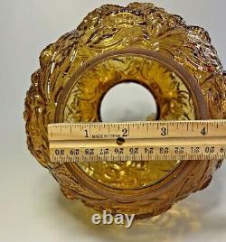 Vintage Amber FENTON Art Glass Ruffled Poppy GWTW Lamp Shade Globe 4 Fitter