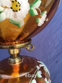 Vintage Amber Gold LG Wright Art Glass Fenton Fostoria Viking Painted Floral