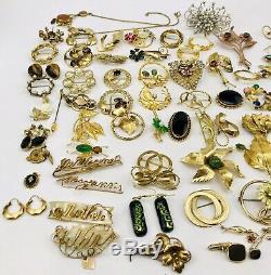 Vintage Antique Art Deco Victorian Gold Filled Rhinestone Brooch Pin Lot