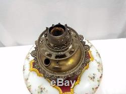 Vintage Antique Victorian GWTW Oil Lamp Light Base Gone With The Wind Glass Art