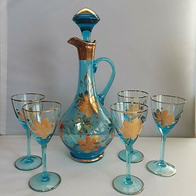 Vintage Aqua Blue Glass Genie Bottle Decanter & 5 Stemware Wine Glasses Roumania