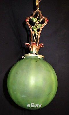 Vintage Art Deco Era Victorian Glass Shade Ceiling Fixture Chandelier Pendant