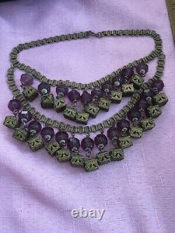 Vintage Art Deco Victorian Glass And Brass Dangle Necklace